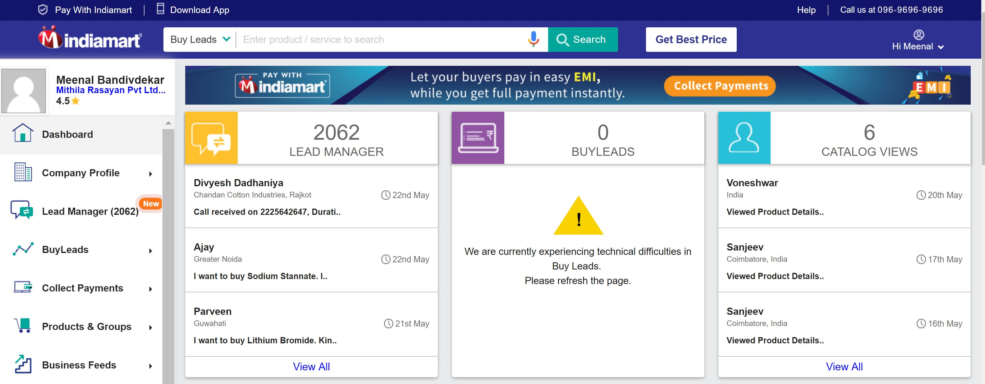 What is IndiaMART Dashboard and how do I access it